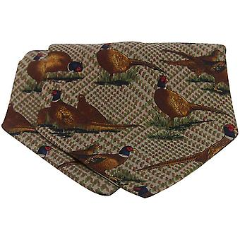 David Van Hagen Tweed Pheasant Silk Twill Country Cravat - Brown