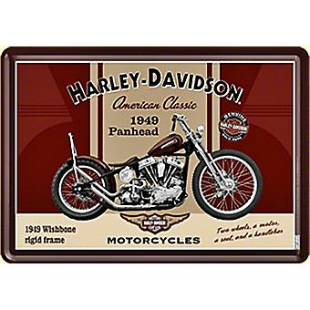 Harley Davidson Panhead Metal postkort / mini tegn