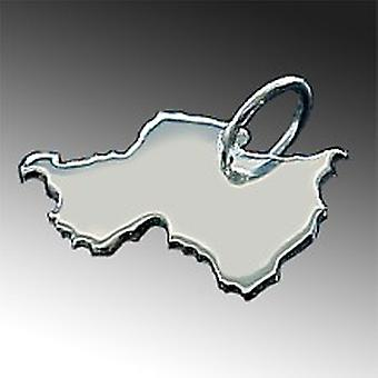 Trailer map Rwanda pendant in solid 925 Silver