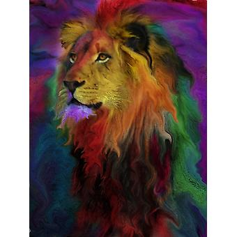 Rainbow Lion Poster Print by Alixandra Mullins