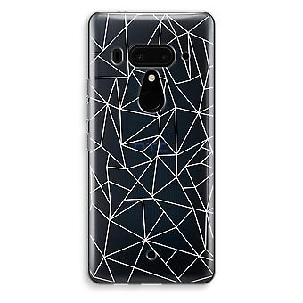 HTC U12+ Transparent Case - Geometric lines white