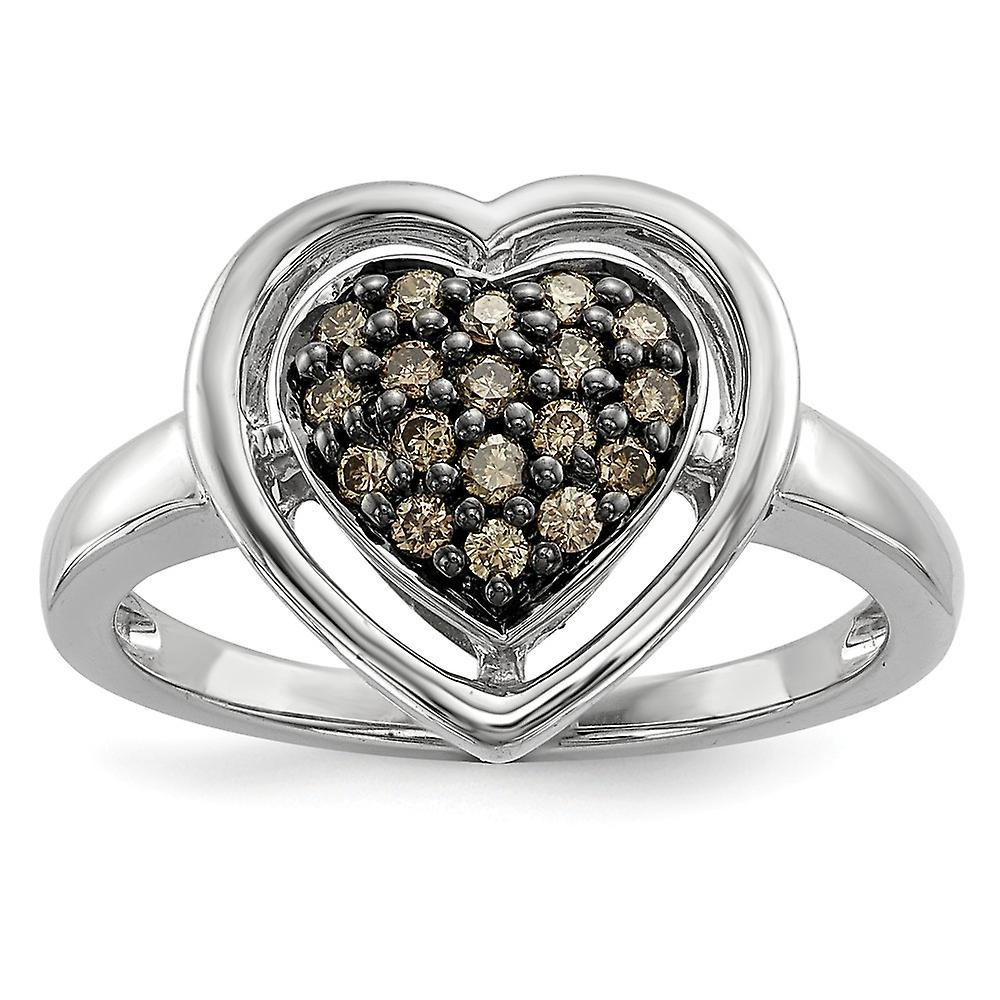 Sterling argent Gift Boxed Cut-out sides Rhodium-plated Champagne Diamond Heart Ring - Ring Taille  6 to 8