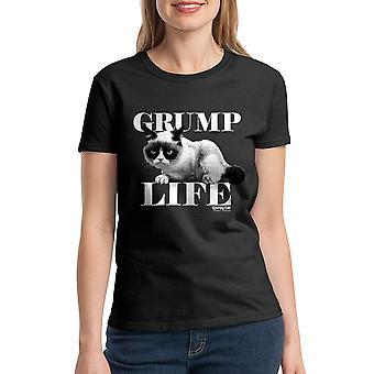 Negro camiseta divertida del gato gruñón Grump vida mujeres