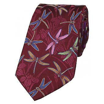 Posh and Dandy Dragonfly Silk Tie - Wine