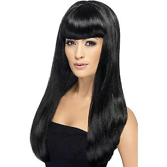 Smiffy's Long Black Wavy Wig, Babelicious Wig With Fringe, Fancy Dress Accessory