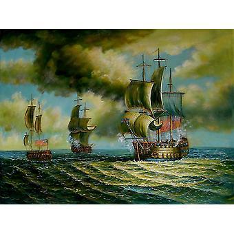 手描き油絵はキャンバスに油彩、90 × 120 cm