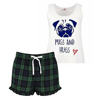 Pugs And Hugs Ladies Tartan Frill Short Pyjama Set Red Blue or Green Blue