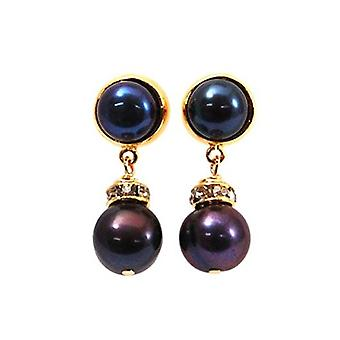 Toc Gold Plated Spherical Dyed Black Freshwater Cultured Pearl Drop Earring
