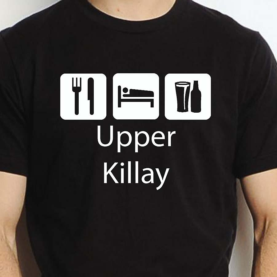Eat Sleep Drink Upperkillay Black Hand Printed T shirt Upperkillay Town