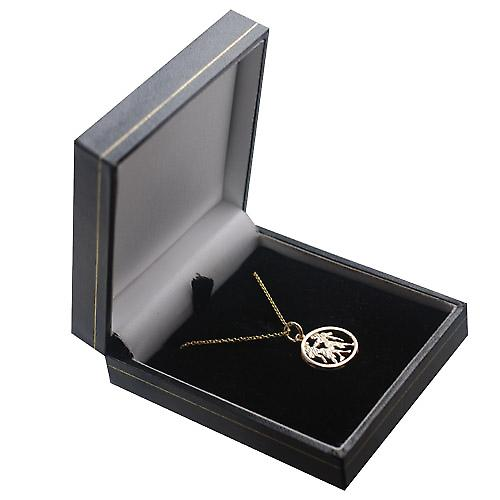9ct Gold 11mm pierced Gemini Zodiac Pendant with a cable Chain 18 inches