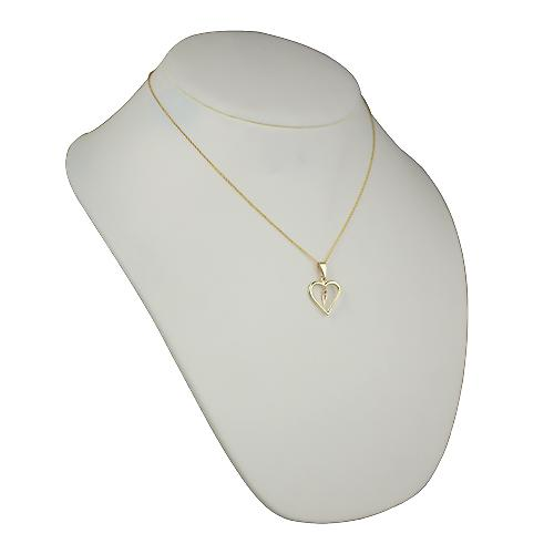 9ct Gold 18x18mm initial V in a heart Pendant with a cable Chain 18 inches
