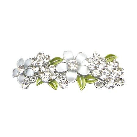 Perfect Bridal Hair Barrette FLowers In Grey Diamond & White Hair Clip