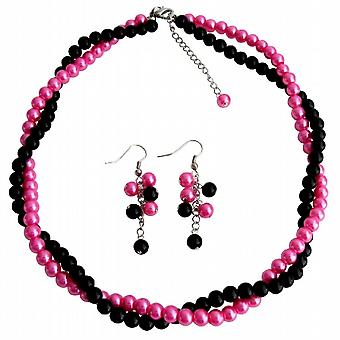 Wedding Great Gift Double Strands Twisted Necklace Earrings Set