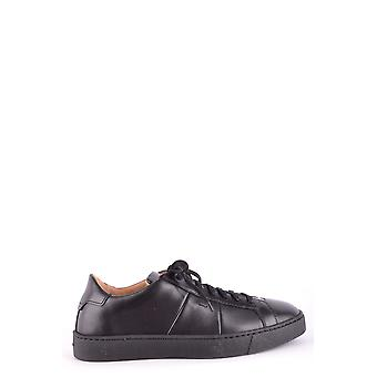 Santoni Black Leather Sneakers