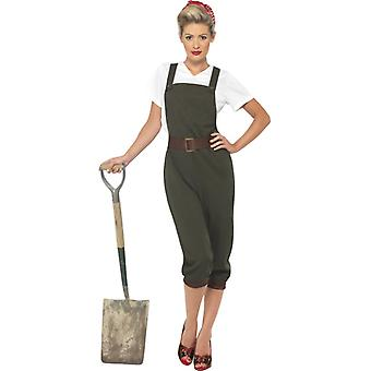 WW2 countrywoman costume shell bib pants and head scarf