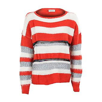9220 Mesdames longues manches tricoté pull chaud hiver Front Stripe pull féminin