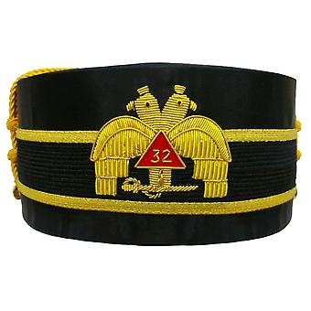 32nd Degree Scottish Rite Wings DOWN Double-Eagle Cap Hand Embroidery Bullion