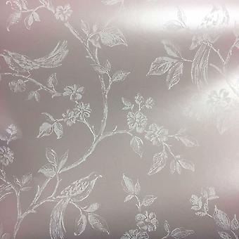 Pale Pink Birds Flowers Floral Trees Luxury Modern Wallpaper Beatrice Fine Decor