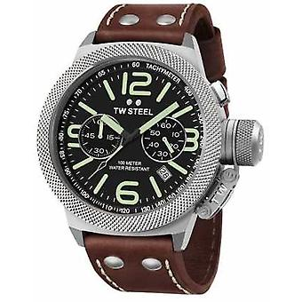 TW Steel Mens Canteen 50mm Chrono Brown Leather Strap CS24 Watch