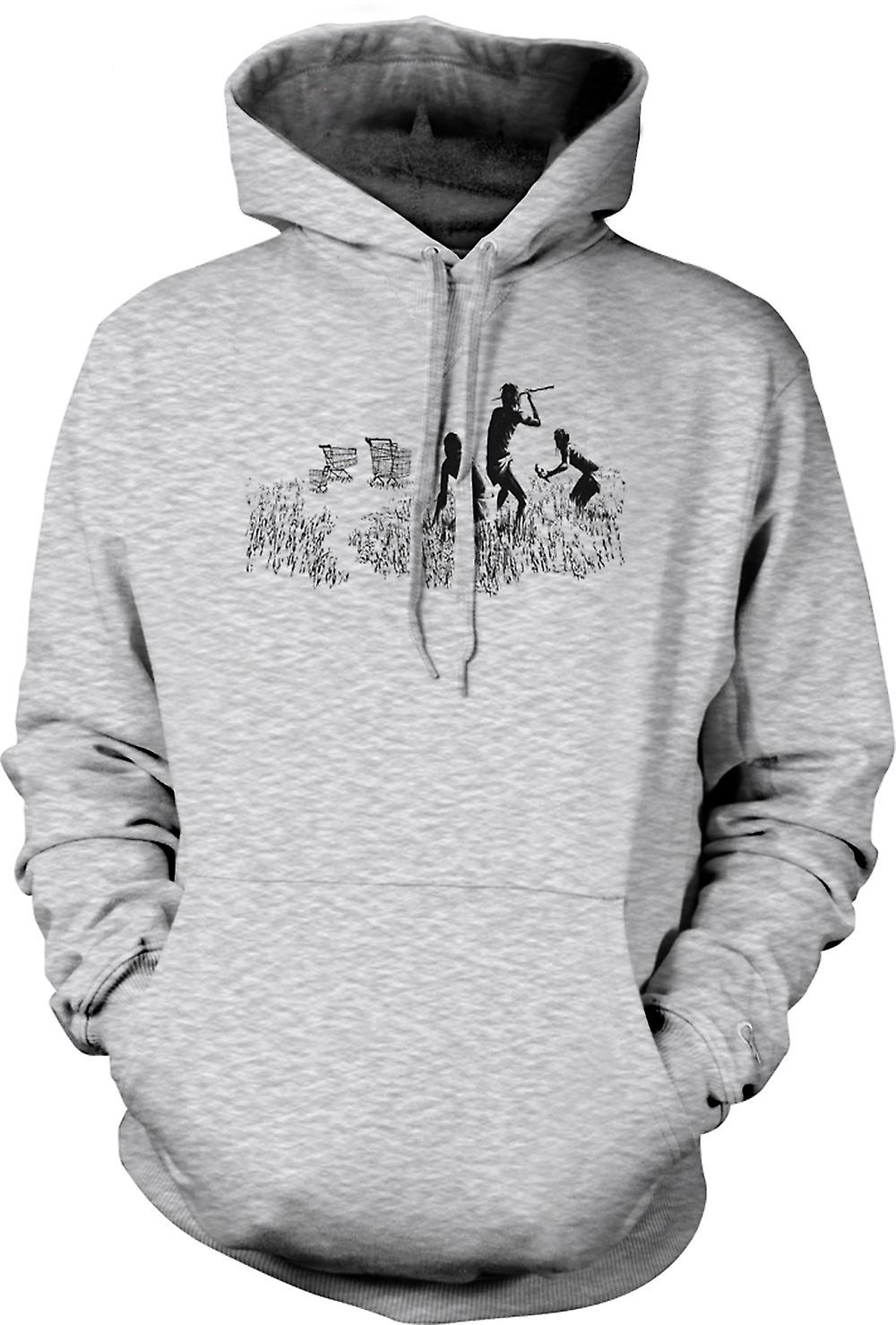 Mens Hoodie - Banksy Graffiti Art - Hunters