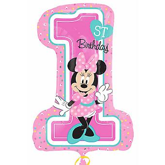 Anagram Supershape Minnie 1st Birthday Foil Balloon