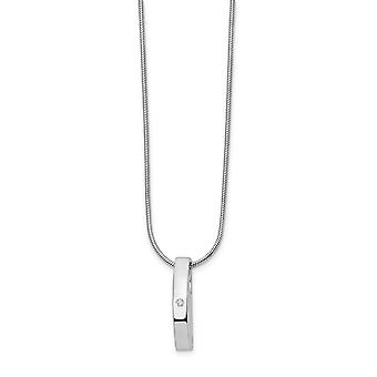 Polished Gift Boxed Rhodium-plated Lobster Claw Closure White Ice .01ct. Diamond Necklace - 18 Inch