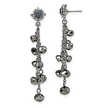 Silver-tone Surgical steel post Hematite Glass Stone and Beads Post Dangle Earrings