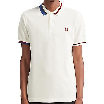 Fred Perry authentische abstrakte Kragen Polo Shirt Schneeweiß M7604