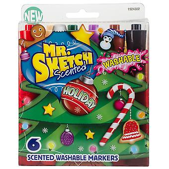 Mr.Sketch Scented Washable Marker Set 6/Pkg-Chisel Holiday 1924302