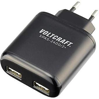 USB charger Mains socket VOLTCRAFT SPAS-2400/2+ Max. output current 4800 mA 2 x USB