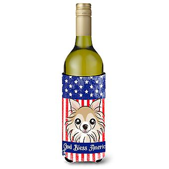 God Bless American Flag with Chihuahua Wine Bottle Koozie Hugger BB2181LITERK