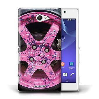 STUFF4 Case/Cover for Sony Xperia M2/Pink/Purple/Alloy Wheels