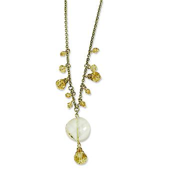 Gold-Ton Yellow Crystal Drop 16 Zoll mit Ext Halskette