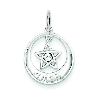 Sterling Silver Solid Polished Open back With Crystal Wish Star Pendant