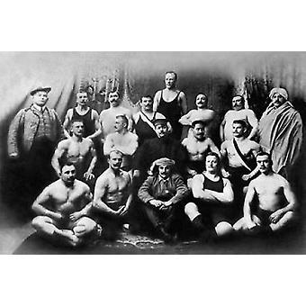 Grupo de impresión de cartel de luchadores rusos por el luchador Vintage