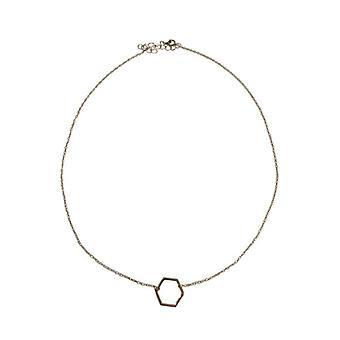 Collier argenté minimaliste chic déclaration avec hexagone