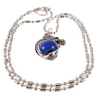 Rhodium Dragon Dark Blue Marble Orb Pendant Bead Necklace