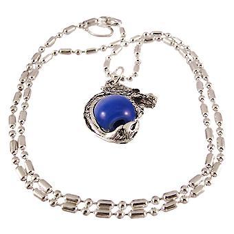 Rhodium Drachen dunkel blaue Marmor Kugel Anhänger Halskette