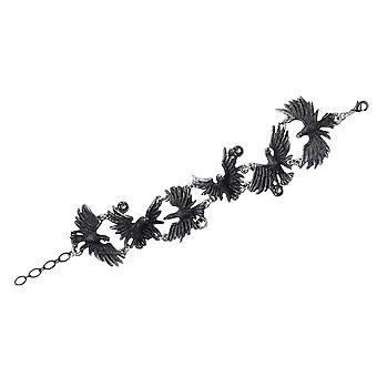Alchemy Gothic Flocking Ravens Pewter Link Bracelet