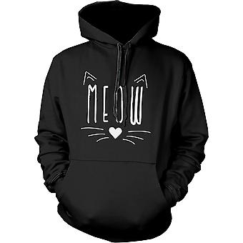 Miau Cute Kitty face Damen Hoodie Geschenk für Cat Lovers Sweatshirt mit Kapuze