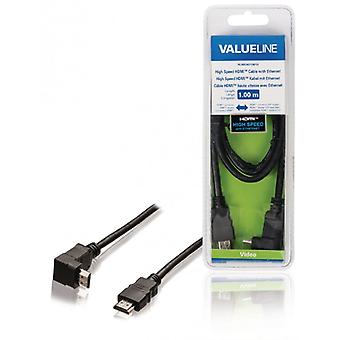 ValueLine high speed HDMI cable with Ethernet HDMI connection HDMI connection 270 ° angled 1.00 m, black
