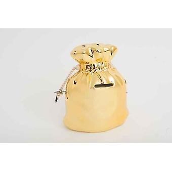 Grand sac or céramique avec corde liens boîte d'économie d'argent