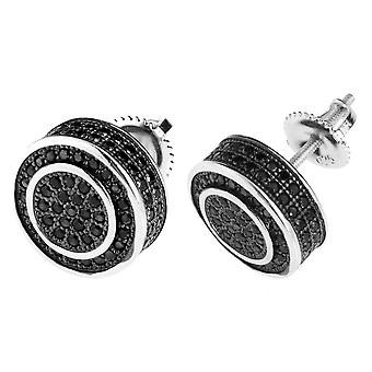 Sterling 925 Silver BLING MICRO PAVE earrings - 12 mm