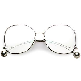 Oversize Butterfly Thin Curved Metal Arms Ball Accents Clear Flat Lens Glasses 63mm
