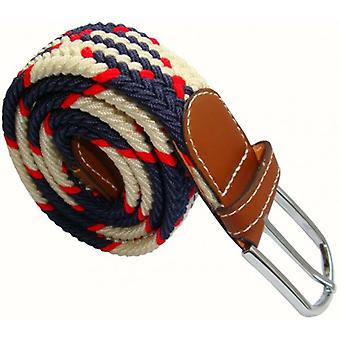 Bassin and Brown Jagged Stripe Elasticated Woven Buckle Belt - Red/Navy/White