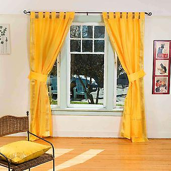 Indo Yellow Tab Top Sari Sheer Curtain (43 in. x 84 in.) with matching tieback