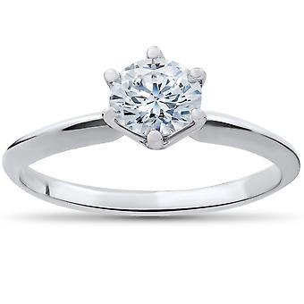 7/8 ct Diamond Solitaire Engagement Ring 14k White Gold