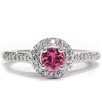 5/8ct Halo Diamond Ring 14K White Gold