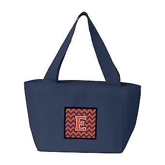 Carolines Treasures  CJ1042-ENA-8808 Letter E Chevron Orange and Blue Lunch Bag