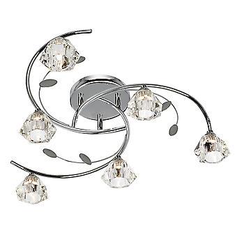 Searchlight 2636-6CC SIERRA 6 Light Semi Flush Ceiling Light In Chrome